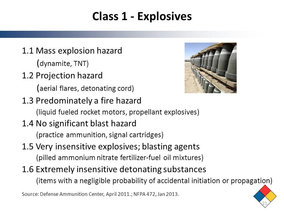 Class 1 - Explosives 1.1 Mass explosion hazard (dynamite, TNT)
