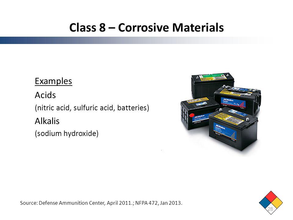 Class 8 – Corrosive Materials
