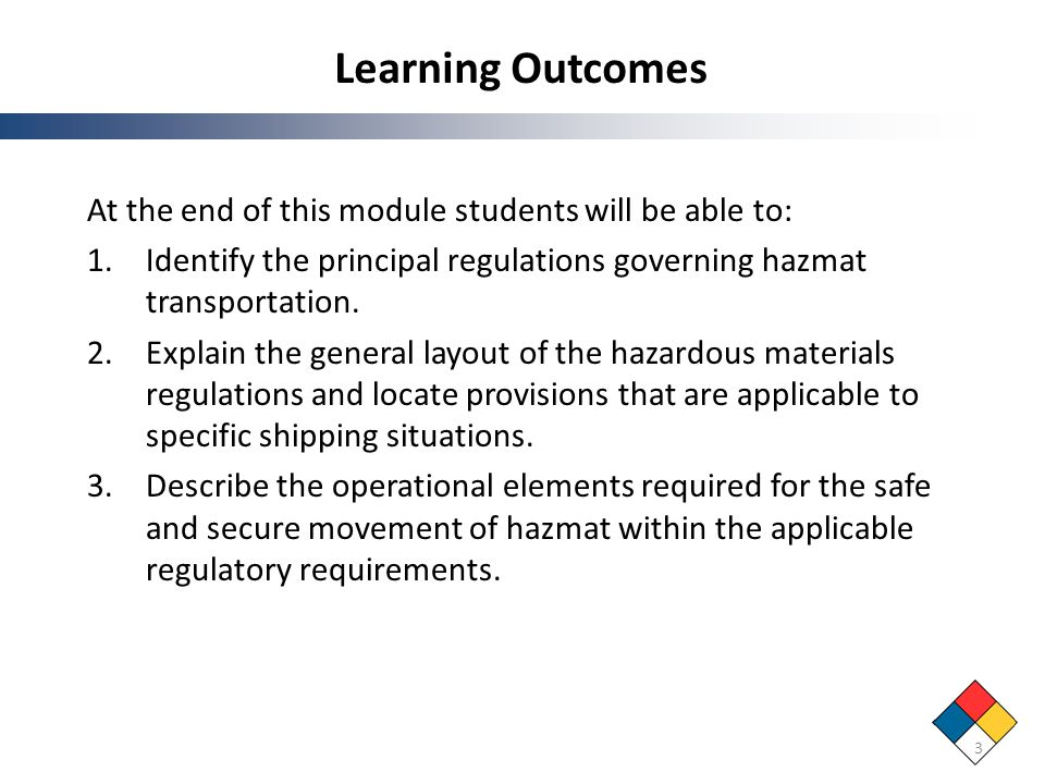 Learning Outcomes At the end of this module students will be able to: