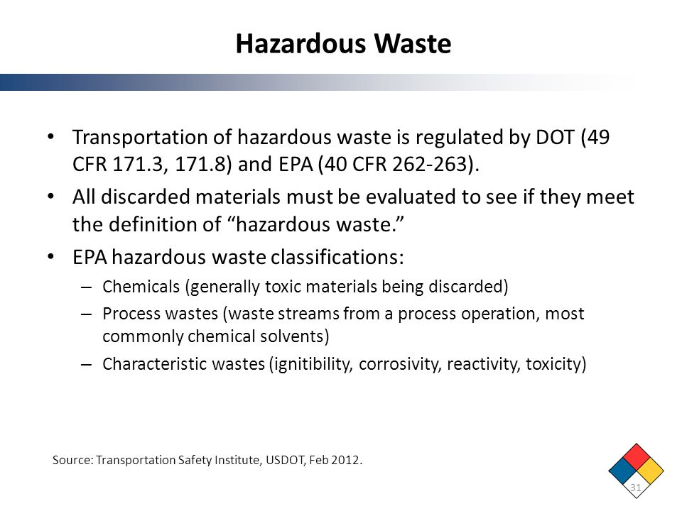 Hazardous Waste Transportation of hazardous waste is regulated by DOT (49 CFR 171.3, 171.8) and EPA (40 CFR 262-263).
