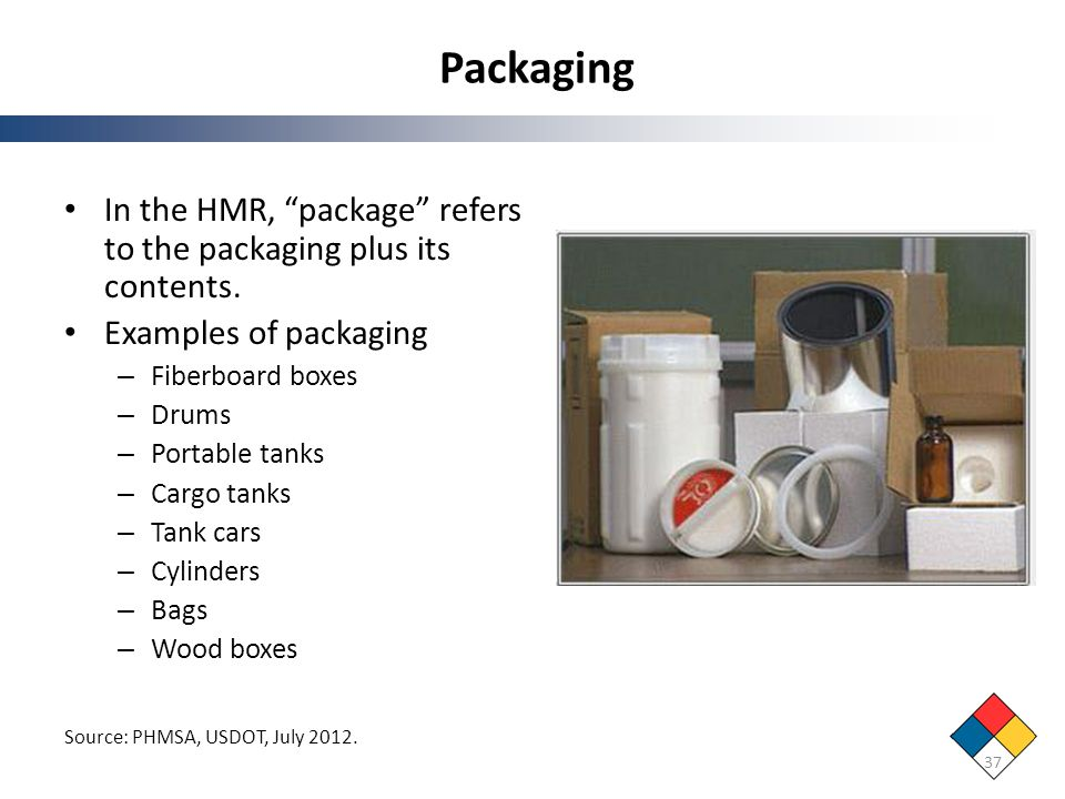 Packaging In the HMR, package refers to the packaging plus its contents. Examples of packaging. Fiberboard boxes.
