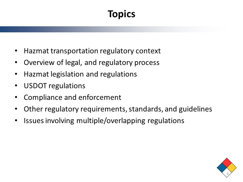 Topics Hazmat transportation regulatory context