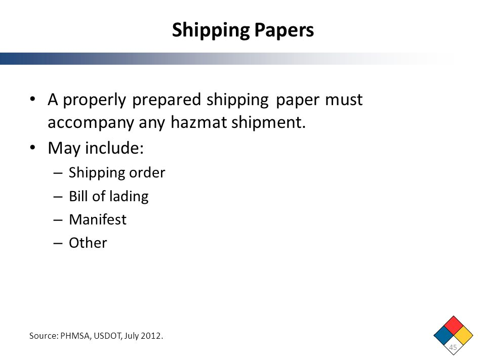 Shipping Papers A properly prepared shipping paper must accompany any hazmat shipment. May include: