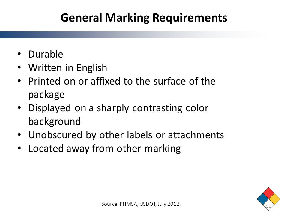 General Marking Requirements