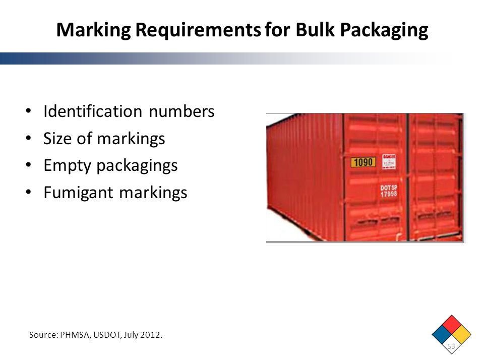 Marking Requirements for Bulk Packaging