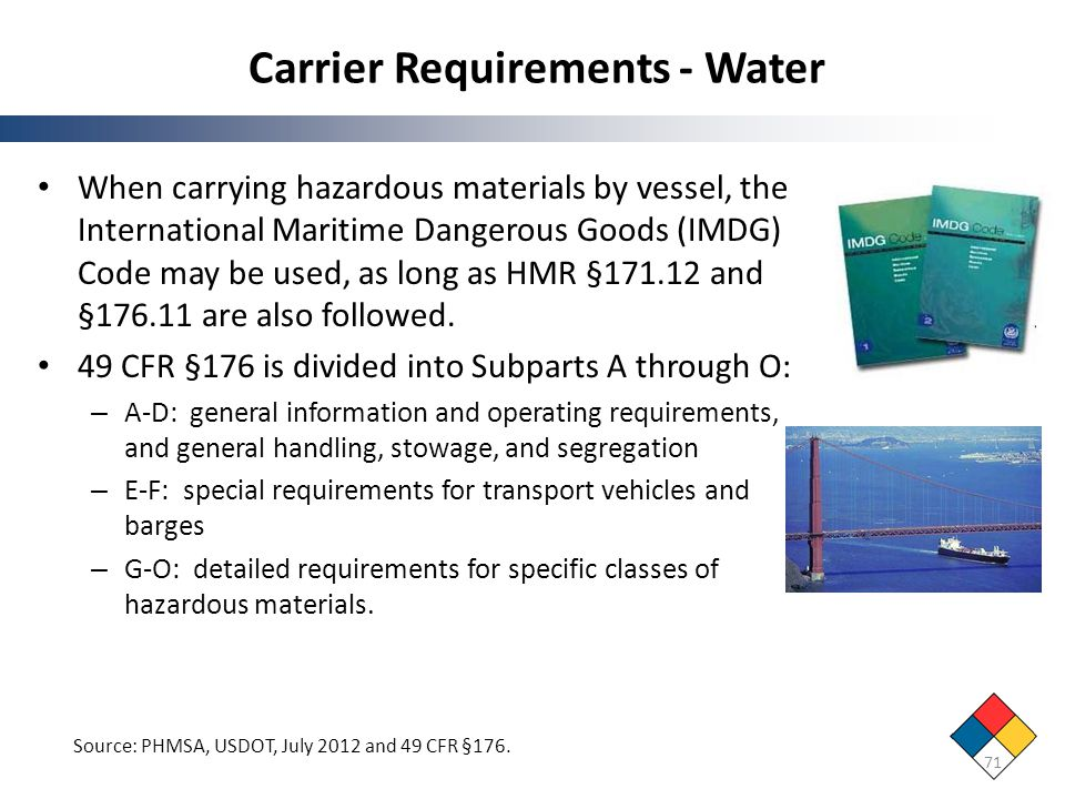 Carrier Requirements - Water