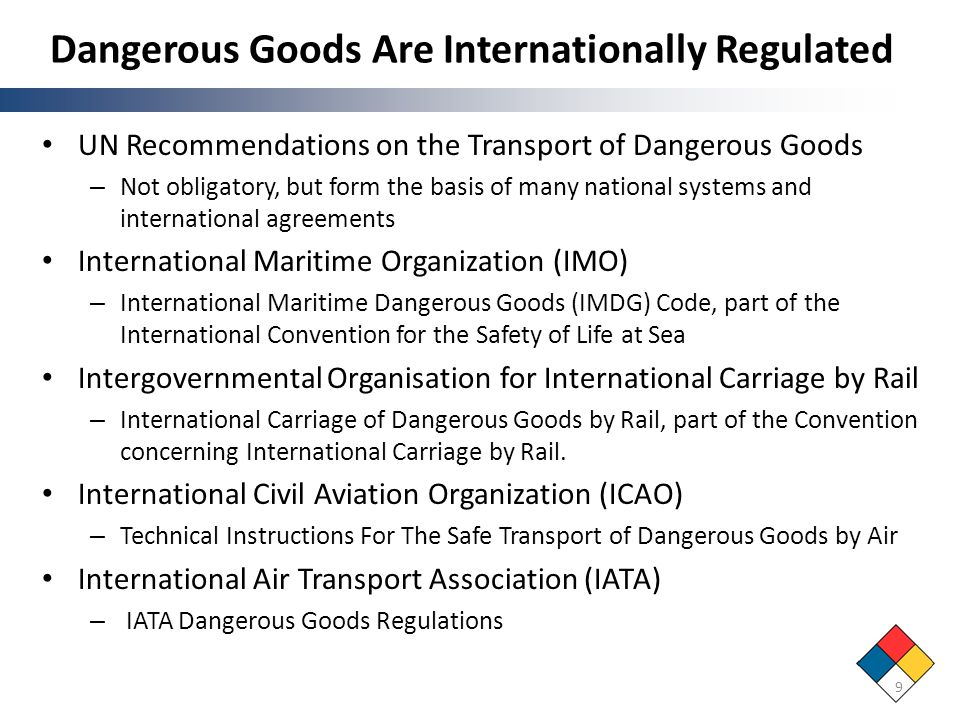 Dangerous Goods Are Internationally Regulated