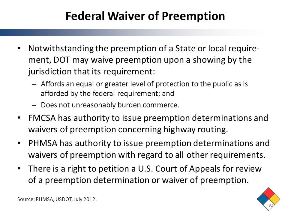 Federal Waiver of Preemption