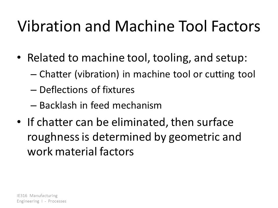 Vibration and Machine Tool Factors