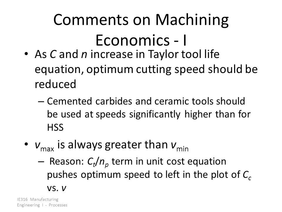 Comments on Machining Economics - I