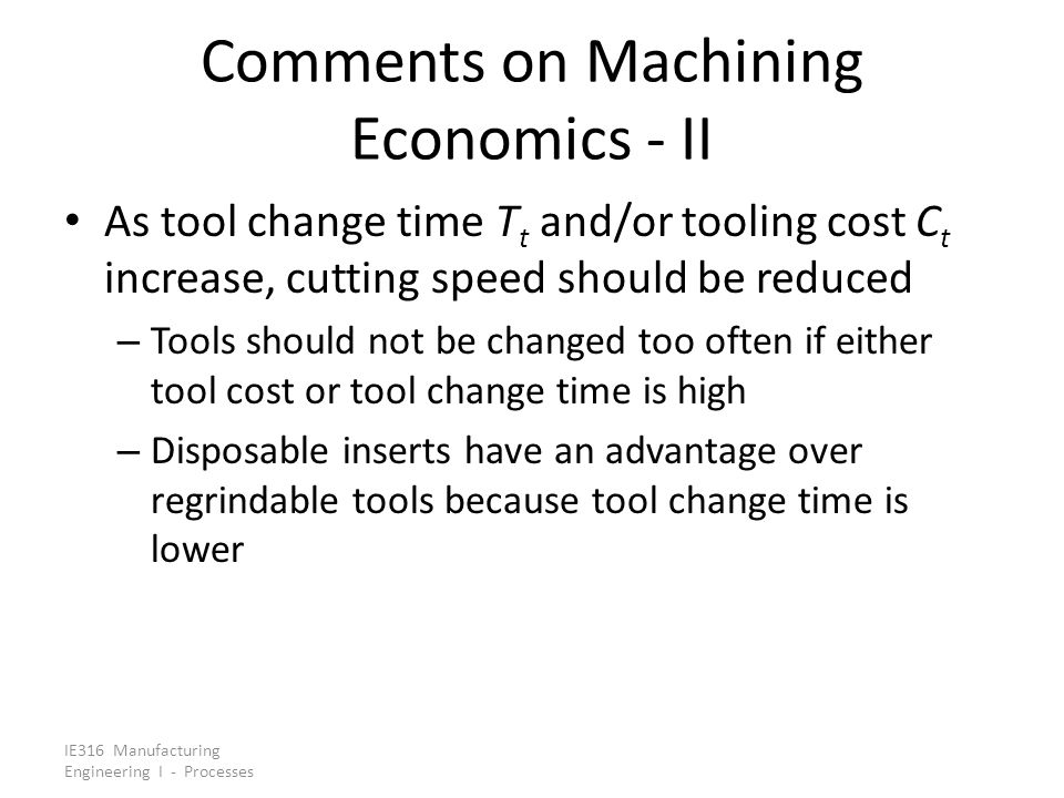 Comments on Machining Economics - II