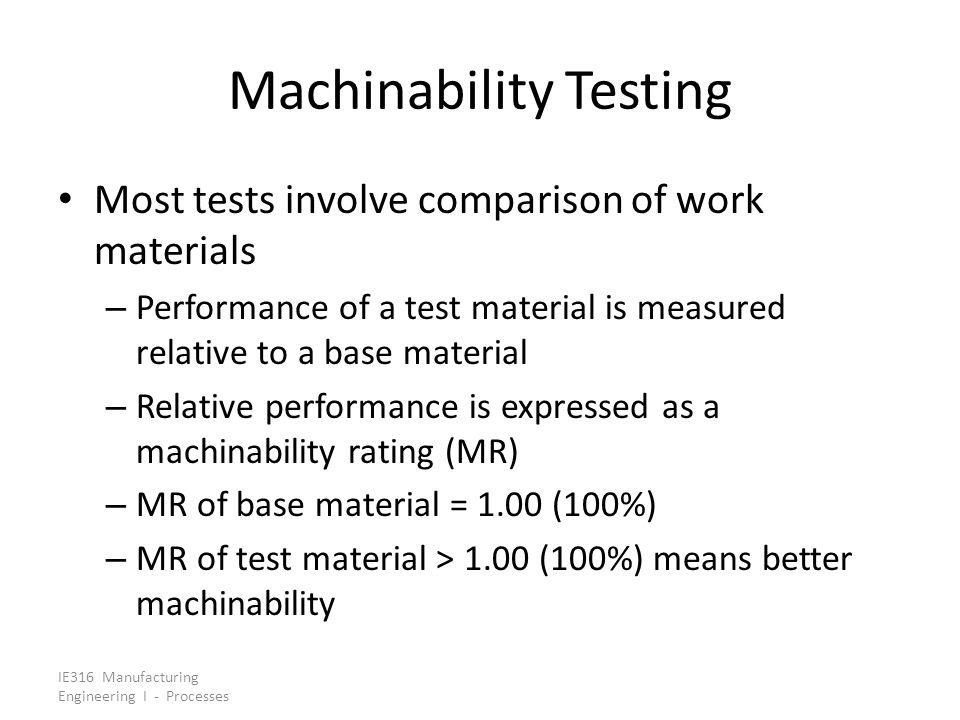 Machinability Testing