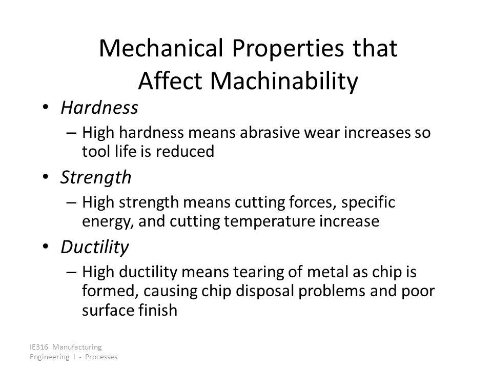 Mechanical Properties that Affect Machinability