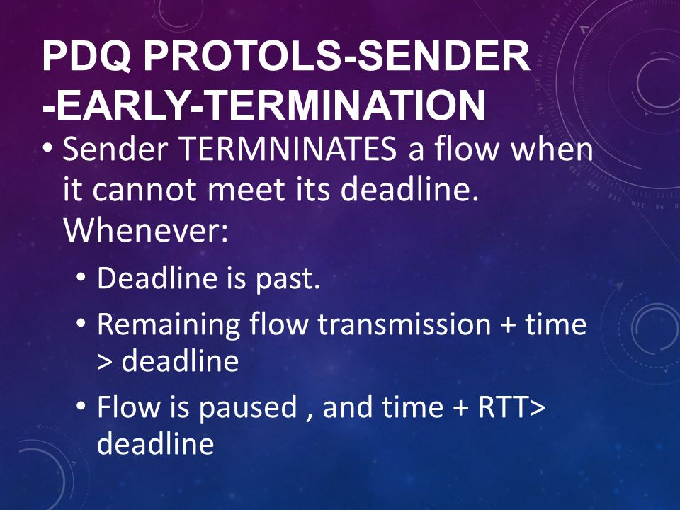 Pdq protols-sender -early-termination