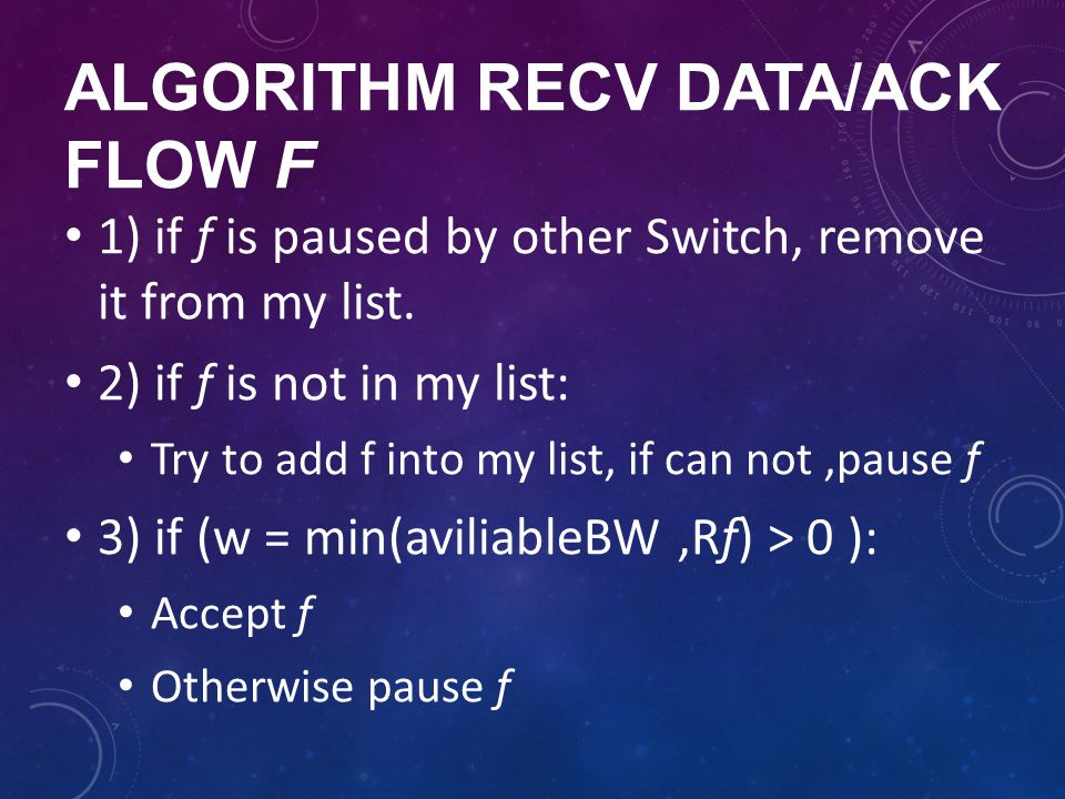 algorithm recv data/ack flow f