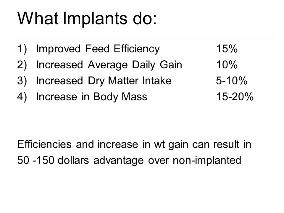 What Implants do: Improved Feed Efficiency 15%