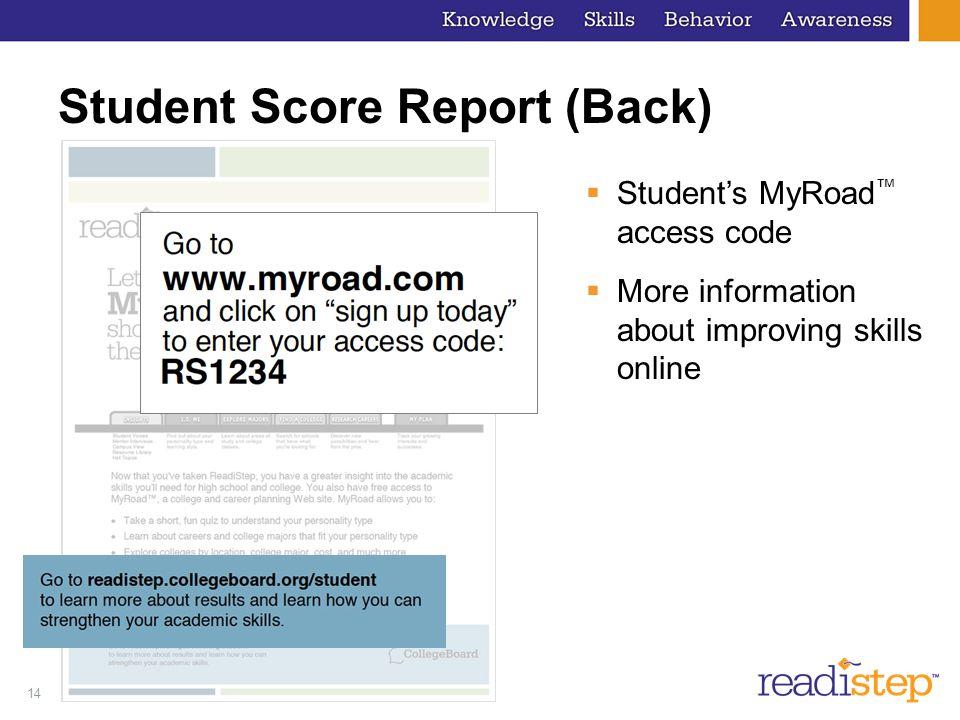 Student Score Report (Back)