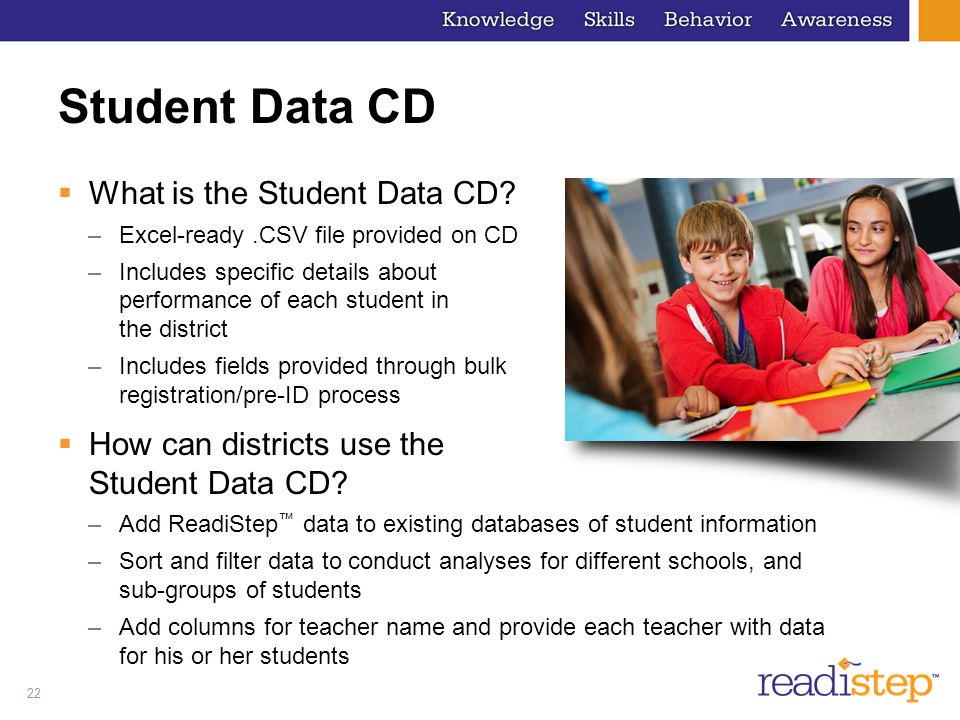 Student Data CD What is the Student Data CD