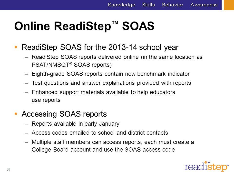 Online ReadiStep™ SOAS