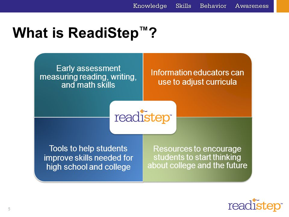 What is ReadiStep™ Early assessment measuring reading, writing, and math skills. Information educators can use to adjust curricula.