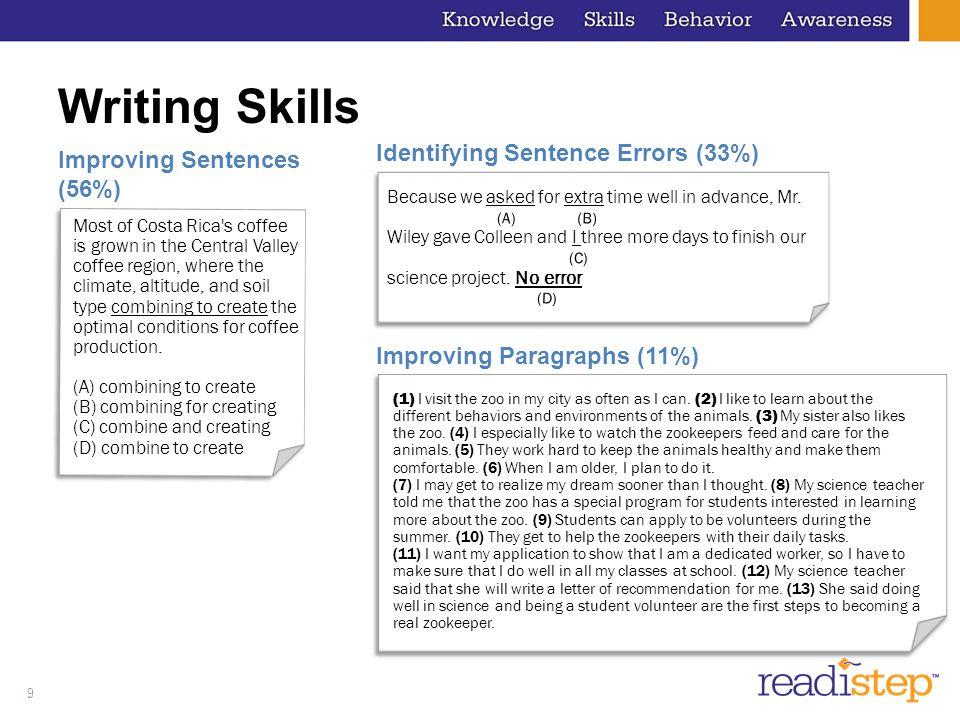 Writing Skills Identifying Sentence Errors (33%)