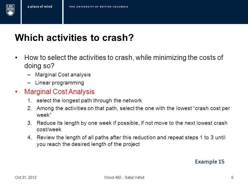 Which activities to crash