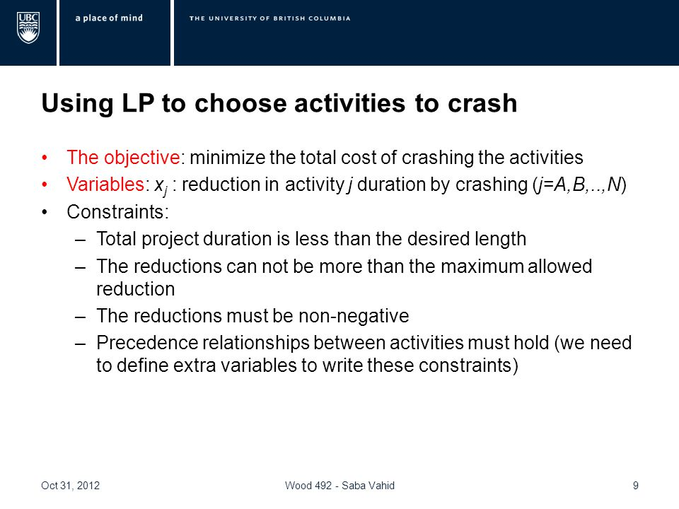 Using LP to choose activities to crash