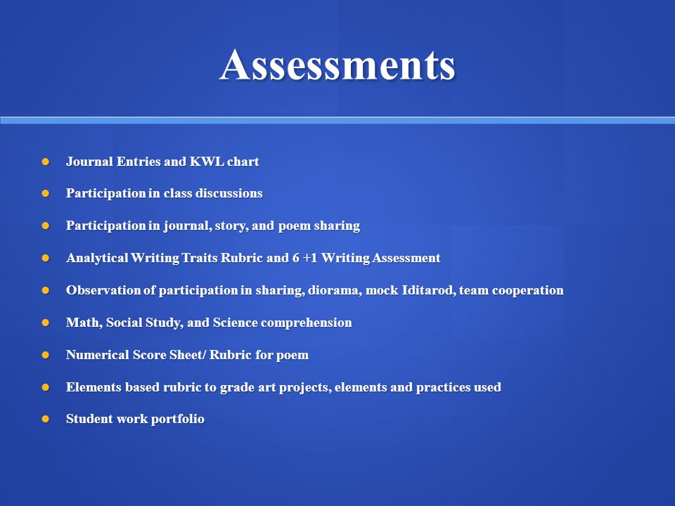 Assessments Journal Entries and KWL chart