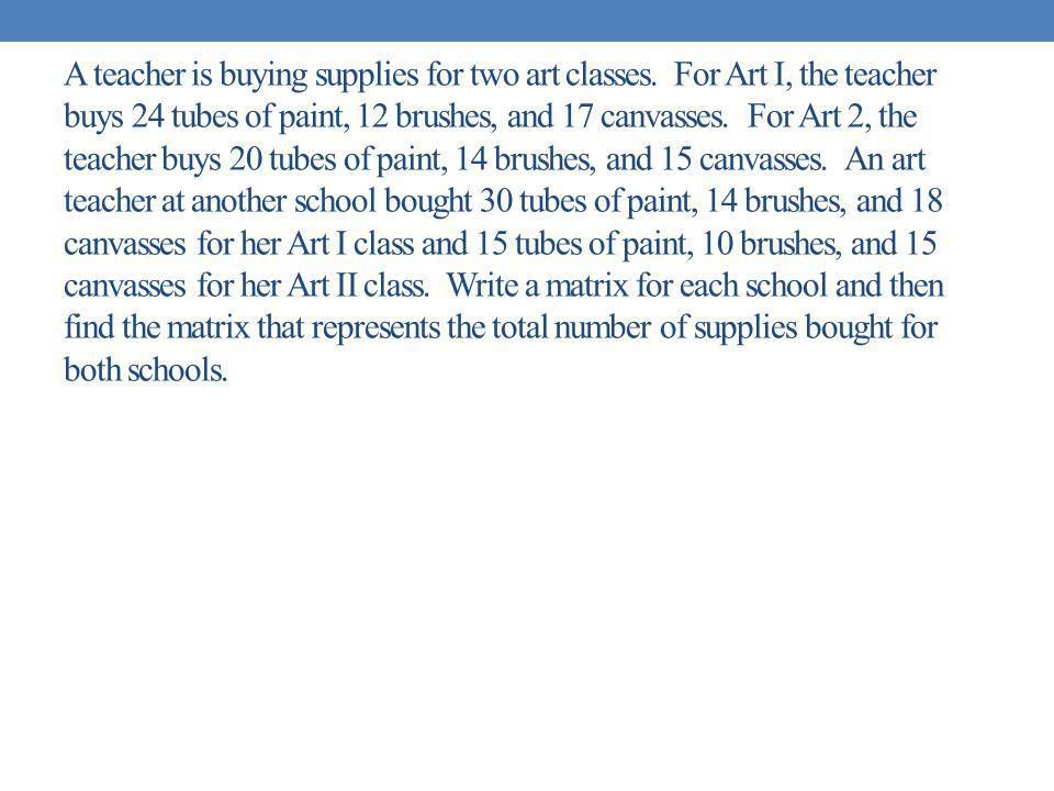 A teacher is buying supplies for two art classes