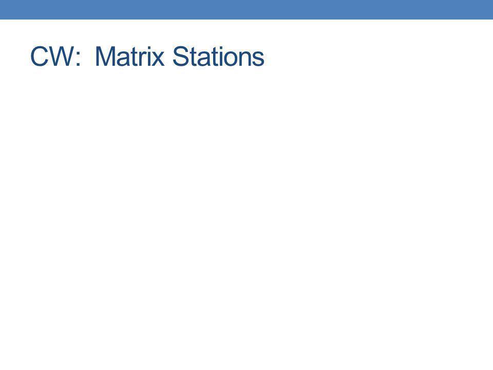 CW: Matrix Stations