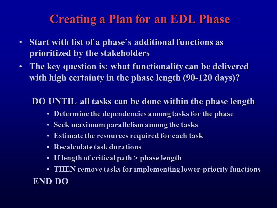 Creating a Plan for an EDL Phase