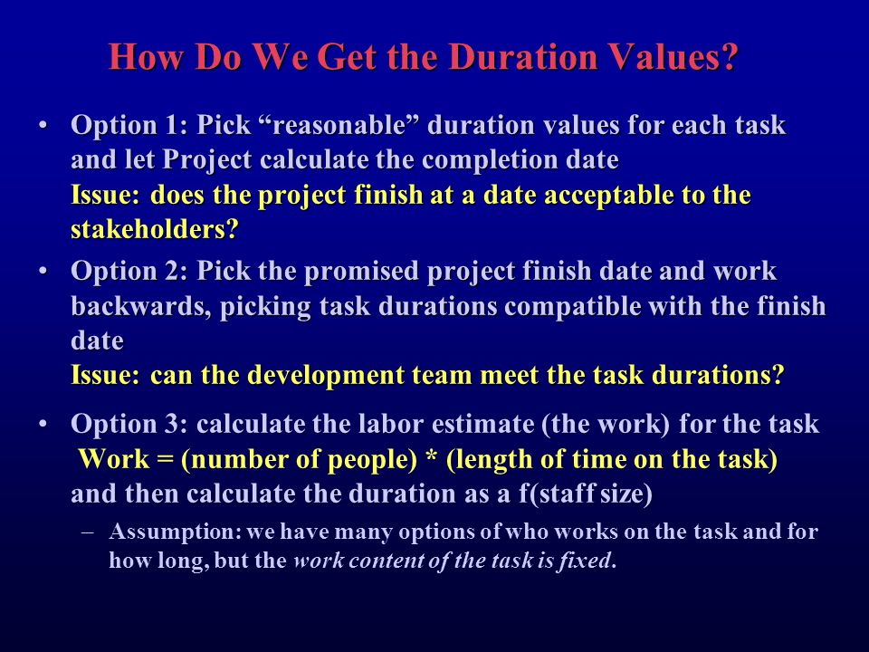 How Do We Get the Duration Values