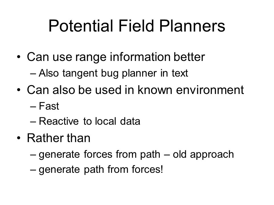 Potential Field Planners