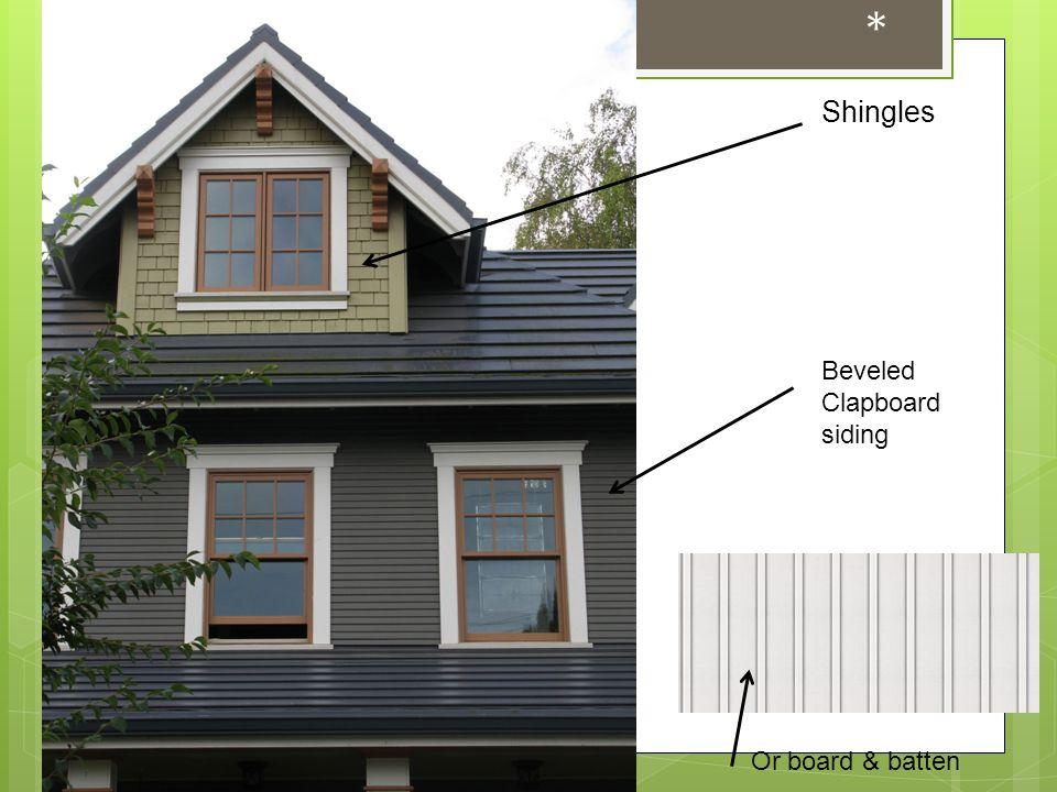 * Shingles Beveled Clapboard siding Or board & batten