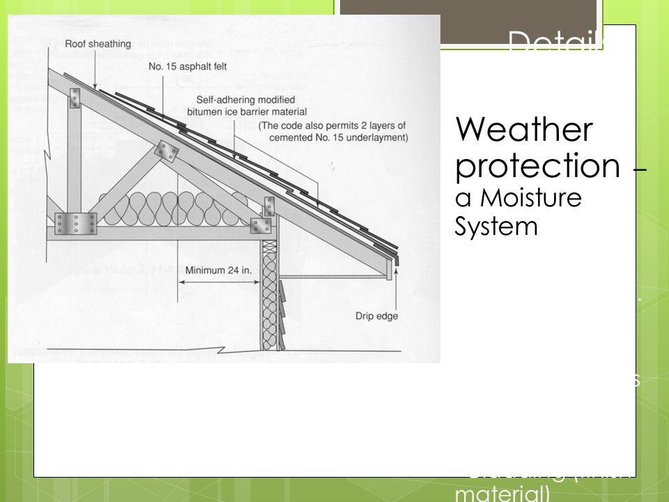 * Details Weather protection – a Moisture System