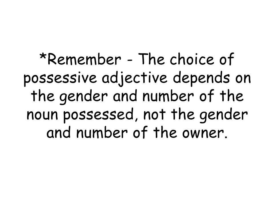 *Remember - The choice of possessive adjective depends on the gender and number of the noun possessed, not the gender and number of the owner.