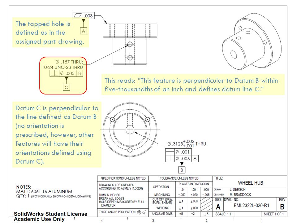The tapped hole is defined as in the assigned part drawing.