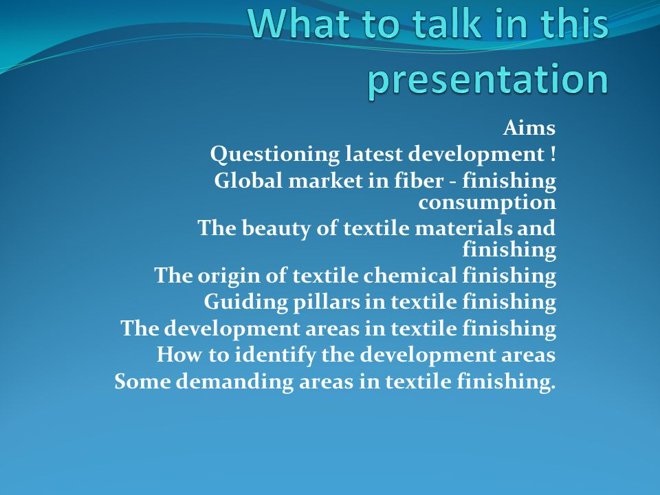 What to talk in this presentation