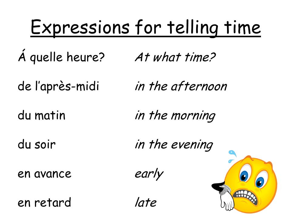 Expressions for telling time