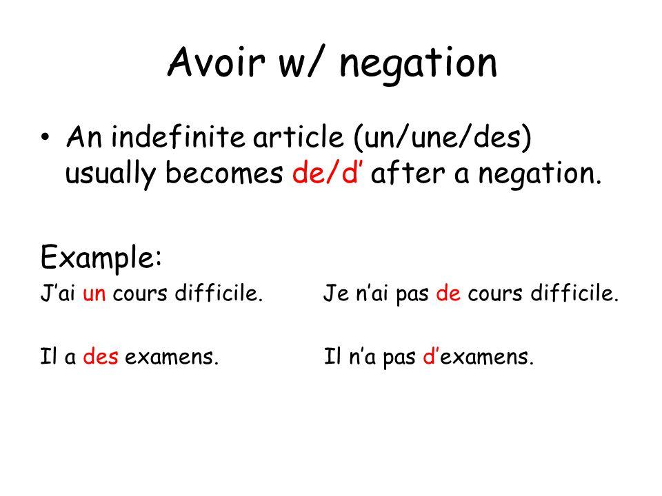 Avoir w/ negation An indefinite article (un/une/des) usually becomes de/d' after a negation. Example: