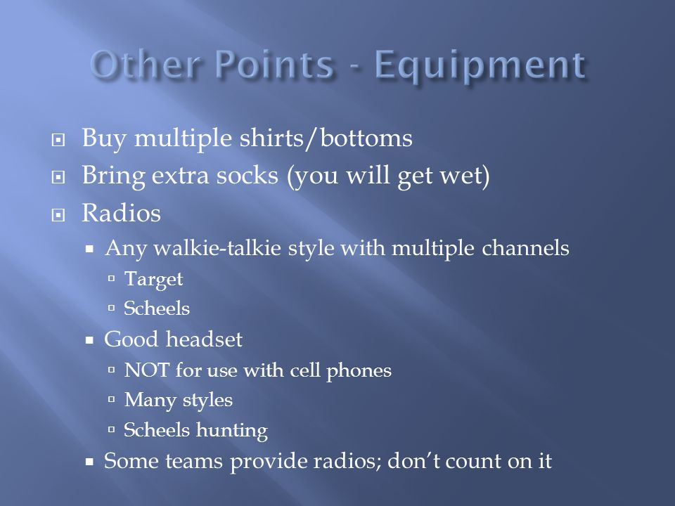 Other Points - Equipment
