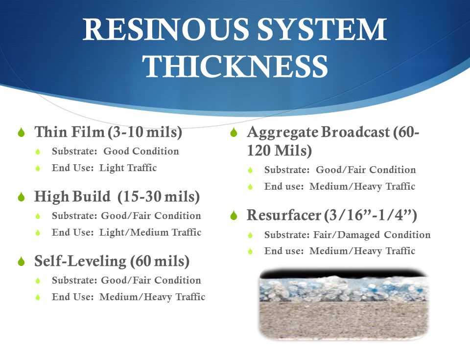 RESINOUS SYSTEM THICKNESS