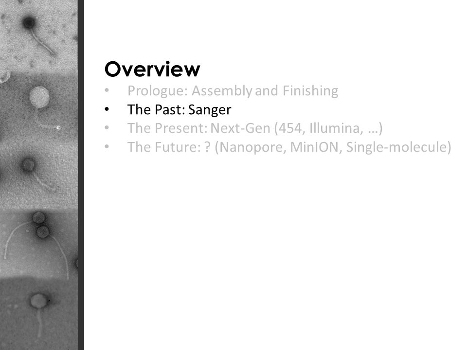 Overview Prologue: Assembly and Finishing The Past: Sanger