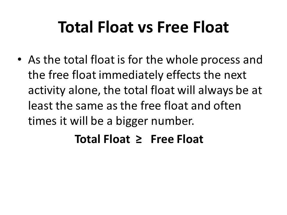 Total Float vs Free Float