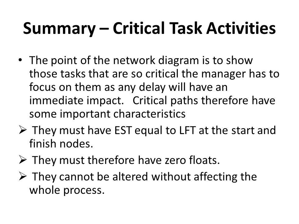 Summary – Critical Task Activities