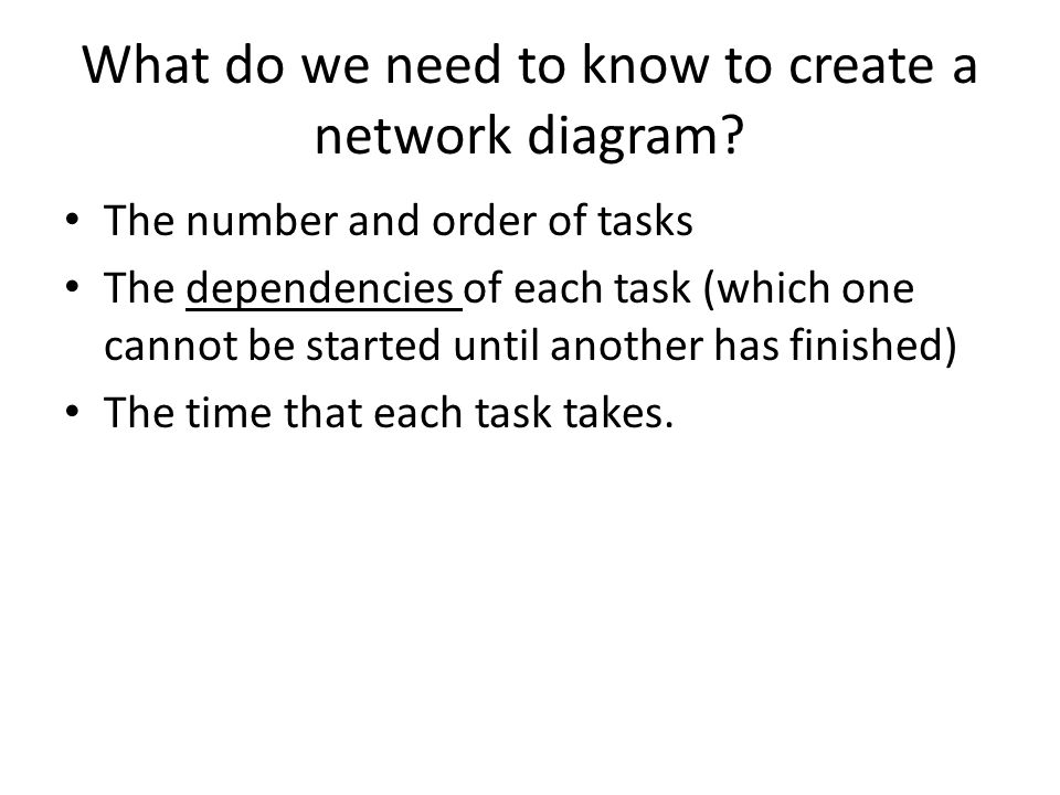 What do we need to know to create a network diagram