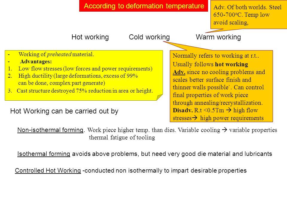According to deformation temperature