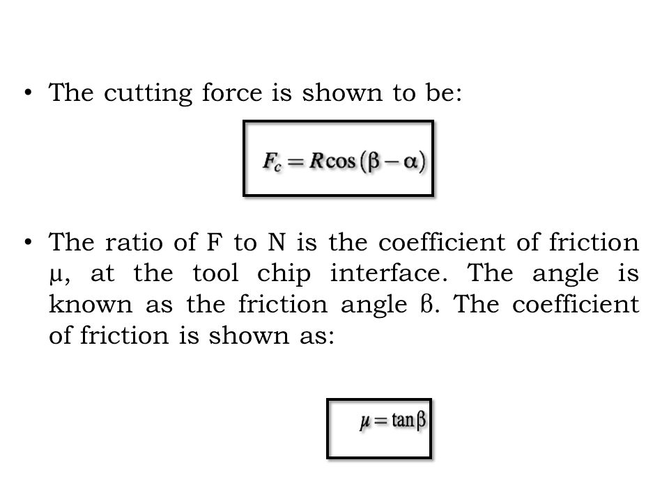 The cutting force is shown to be: