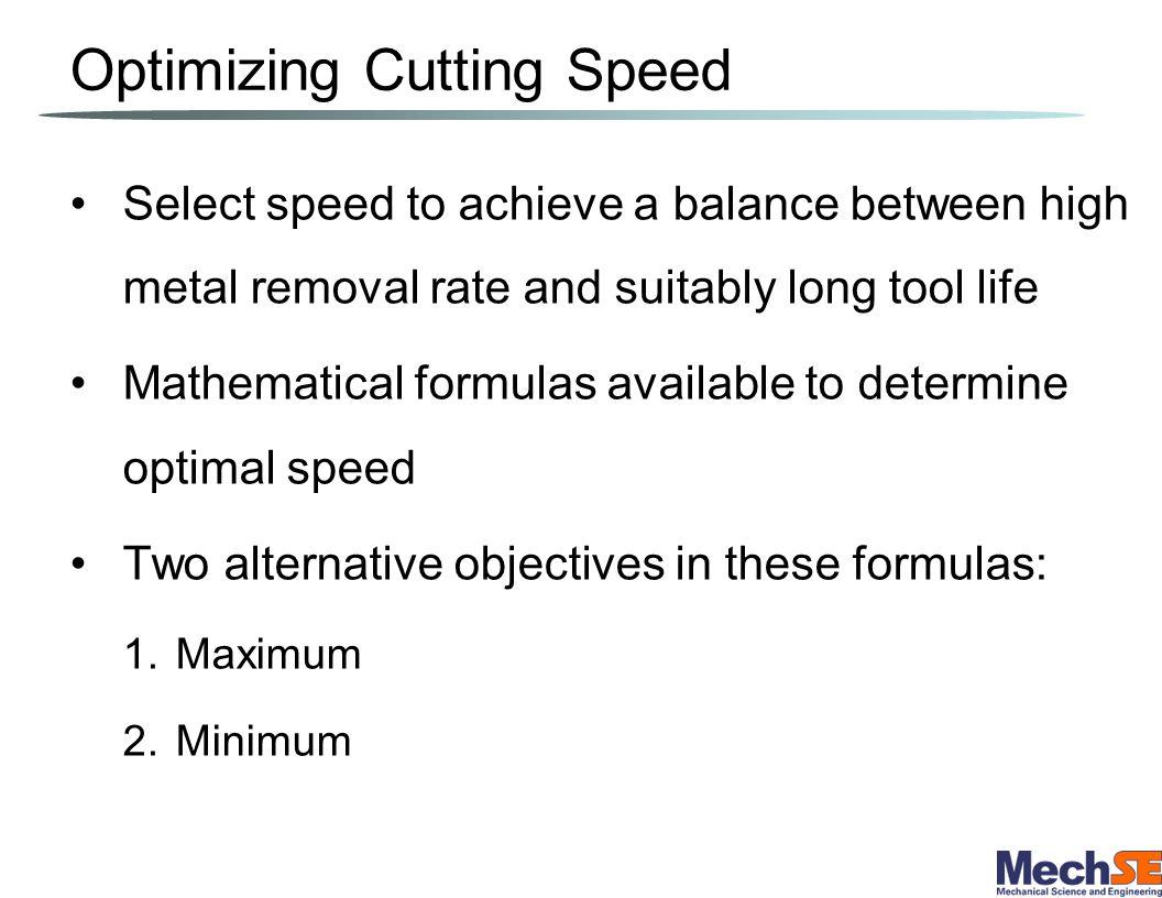 Optimizing Cutting Speed