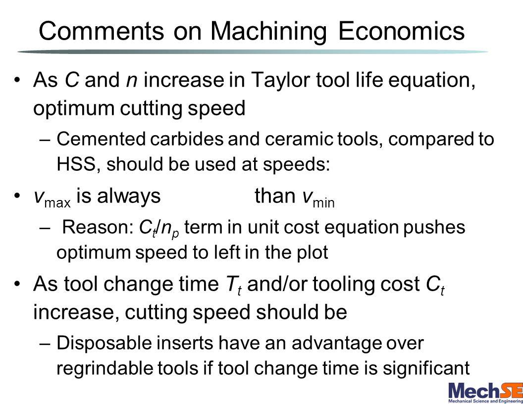 Comments on Machining Economics
